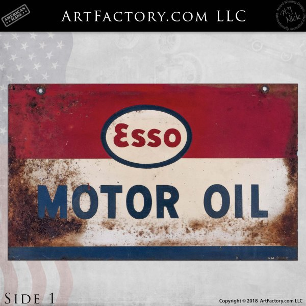 Esso Motor Oil Double Sided Sign