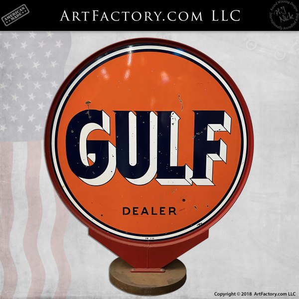 vintage 6 foot round Gulf Dealer sign
