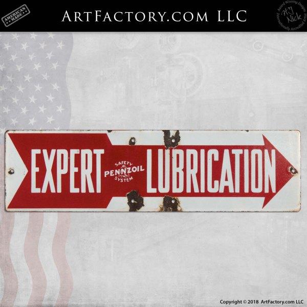 Pennzoil Expert Lubrication Arrow Vintage Sign