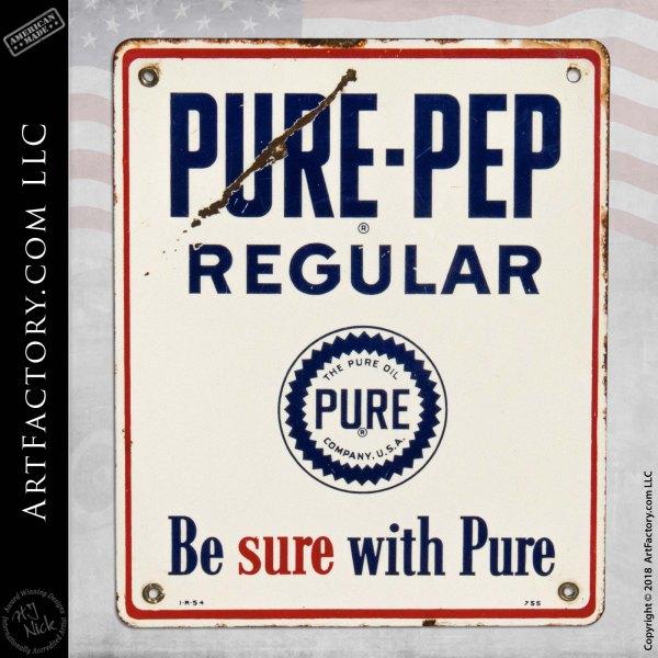 Vintage Pure Pep 1954 Porcelain Sign