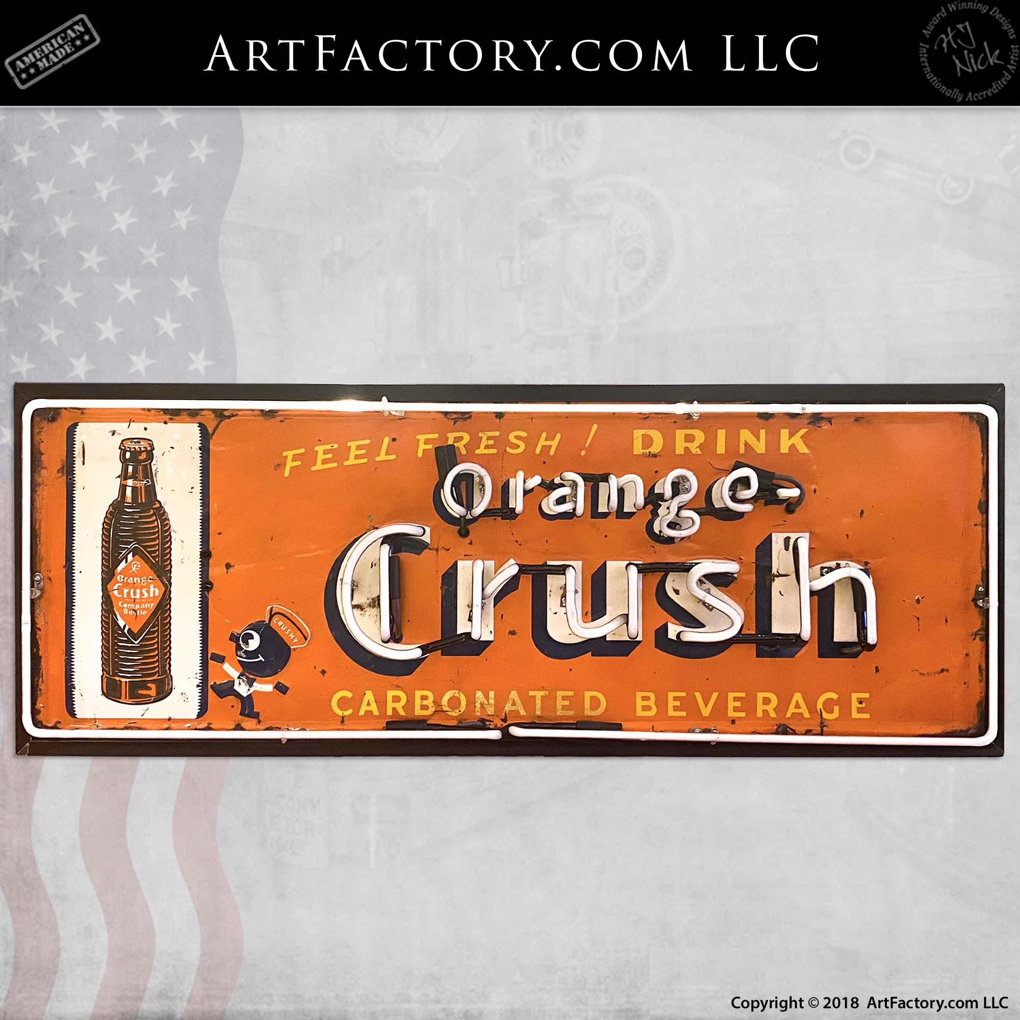 Vintage Orange Crush Neon Soda Sign