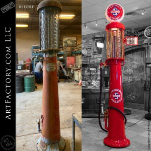vintage Wayne 515 gas pump before and after