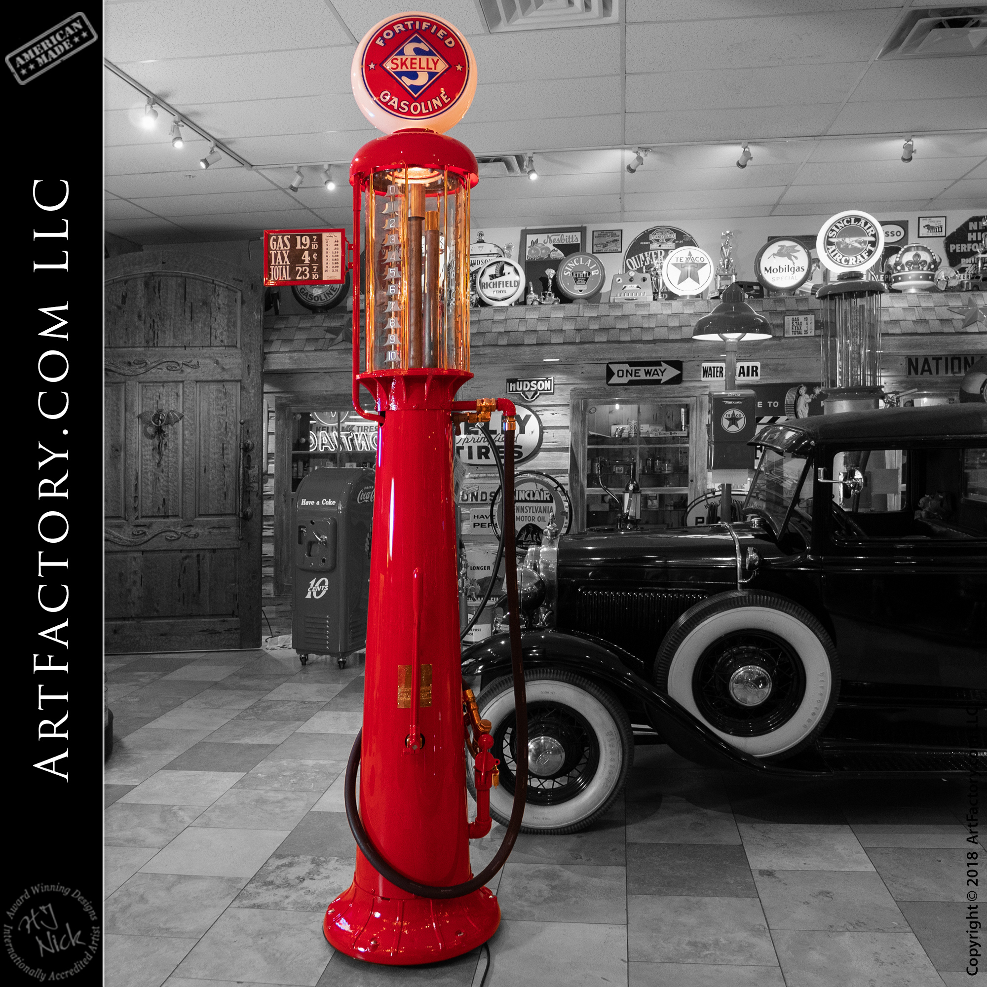 Steve bought a Lubester Oil Cart from us a few months ago. Saw this Texaco air pump that he is interested in: Vintage Restored Texaco Air Pole: With Water Hose & Island Light – AP4214 https://mancave.artfactory.com/product/vintage-restored-texaco-air-pole/