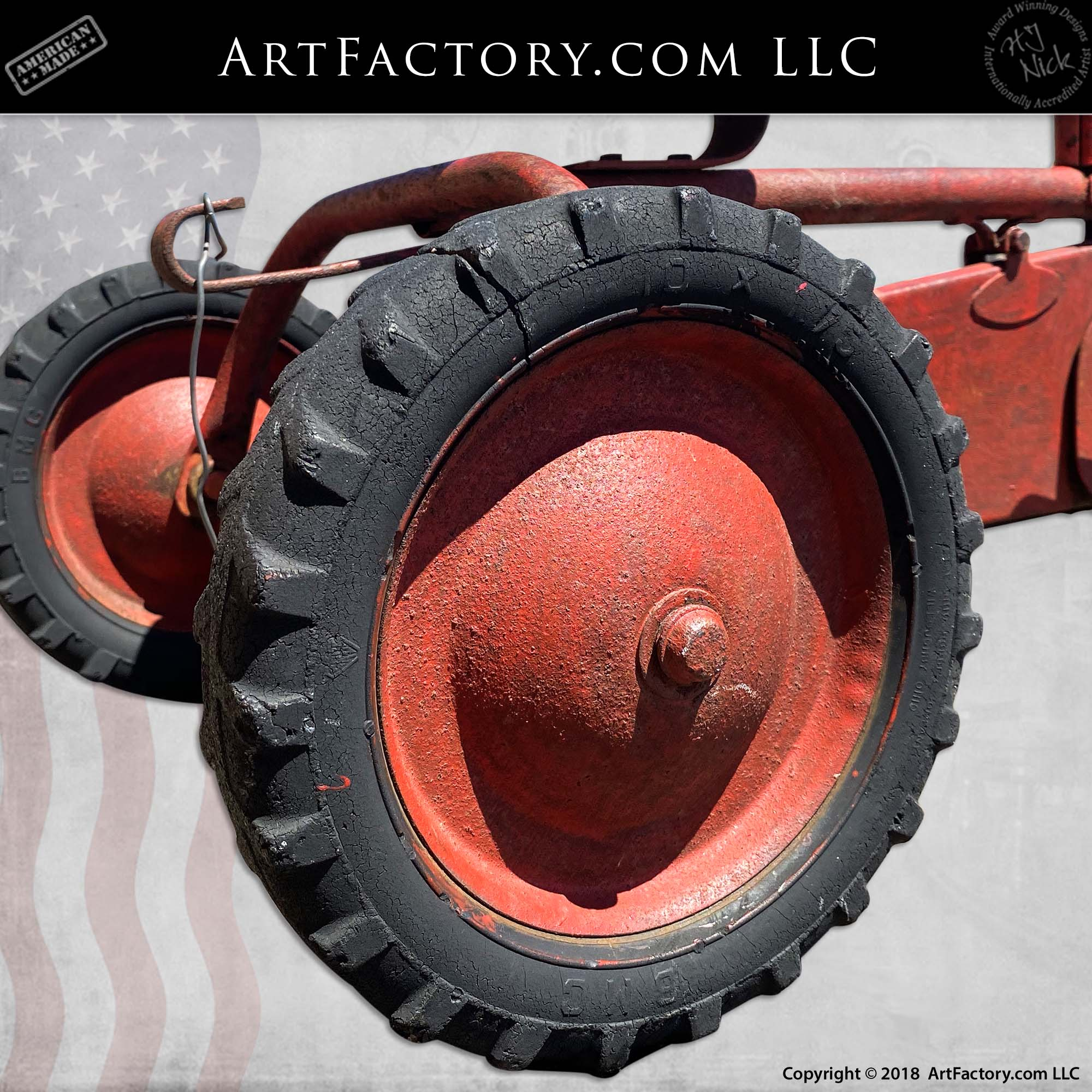 Vintage-BMC-Red-Tractor-Pedal-Car-5
