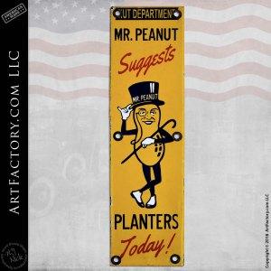 Vintage Planters Mr. Peanut Sign