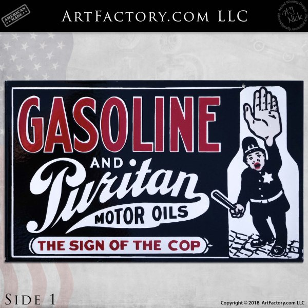 Vintage Puritan Gas and Oil Cop Flange Sign