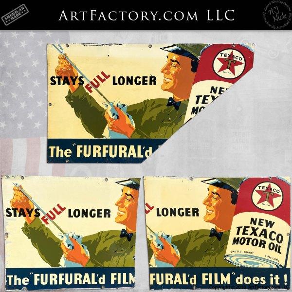 "Vintage Texaco Partial ""Furfural'd Film"" Signs"