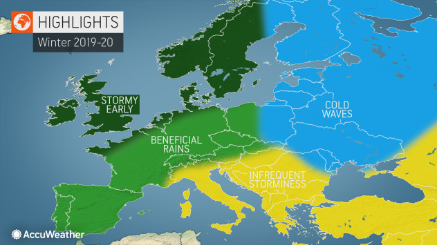 Previsões Accuweather Inverno 2019-2020 na Europa