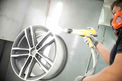 Powder coat alloy wheel refurbishment