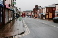 Penny Meadow in the present day. It still has many shops open on the street but isn't as busy as it used to be.
