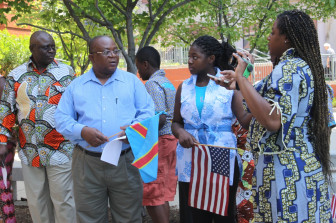 A group gathered at City Hall June 30 to celebrate Congolese Independence.