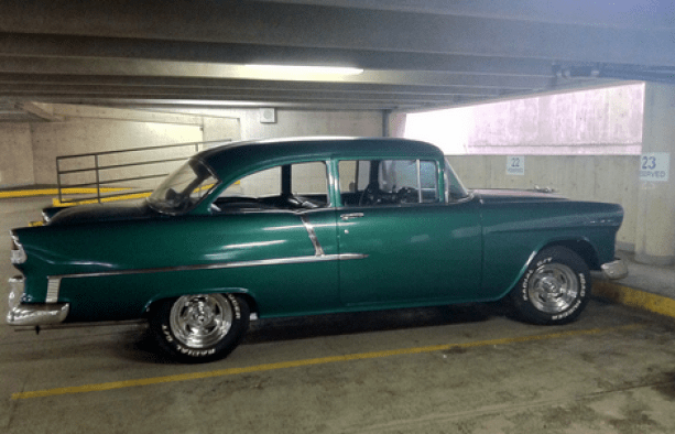 Joe LaRochelle's 1955 Chevy in the Citizen's Bank garage.