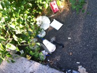 Litter, including coffee cups and plats and articles of clothing.