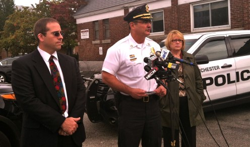 West High School Principal Chris Motikas, Manchester Police Chief David Mara, and school superintendent Debra Livingston, talk to press following the Sept. 25 lockdown.