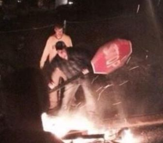 This photo has been identified as a West Virginia University riot photo, according to the Boston Globe.