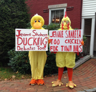 NH GOP says Sen. Jeanne Shaheen is ducking debates and too chicken to hold a town hall meeting.