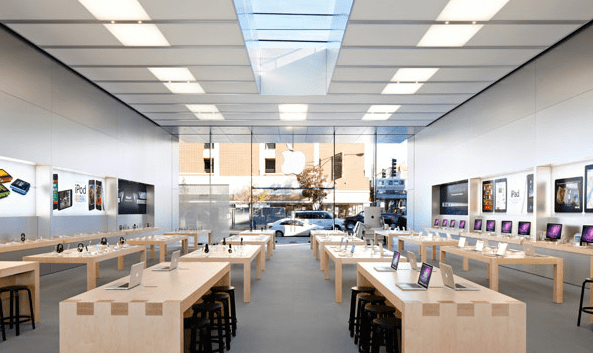 Wide open spaces of the traditional Apple Store,