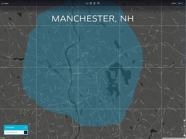 Uber mobile app-driven ride service has arrived in Manchester, NH.