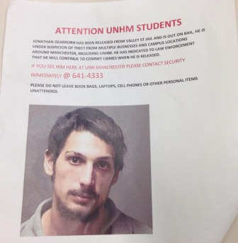 Unofficial wanted poster for Jonathan Dearborn, as seen on the UNH Manchester campus.