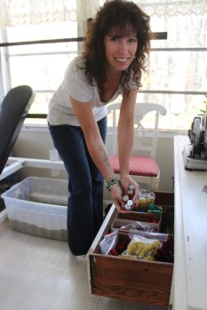 She has a drawer where she stores casings of all sizes and metal colors.