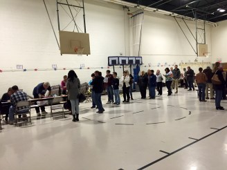 Voters waiting to register at Ward 4.