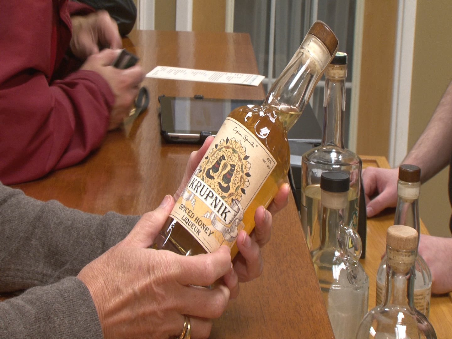 Bottle of Krupnik, a new local spirit that goes down smooth as honey.