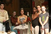 "Misty Copeland, center, of the American Ballet Theatre, along with a few of her colleagues, from left: Sterling Baca and Catherine Hurlin, were performing this weekend with the New England Dance Ensemble's sold-out performances of ""The Nutcracker,"" at Windham High School. She and her colleagues participated in the dress rehearsal on Friday evening. With her at right, from left are NEDE dancers Autumn Douglas, 14, of Georgetown, Mass., Nadia King, 14, of Londonderry, and Audrey Severn, 13, of Londonderry, one of the three Claras. Photo by Allegra Boverman"