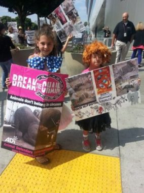 Beagle Freedom Project Kids dress up at the circus to draw attention to the plight of the animals.