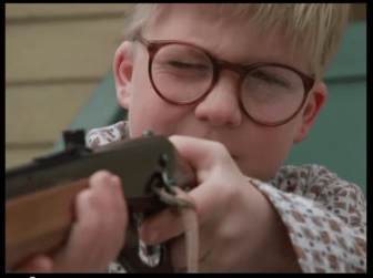 """Ralphie shoots his eye out, """"A Christmas Story."""""""