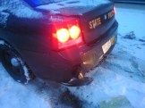 Damage to rear of NH State Police cruiser.