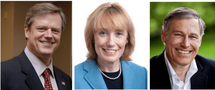 Govs. Charlie Baker, Maggie Hassan and John Inslee.