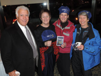 Manchester's Mayor Ted Gatsas, joins CFS trustee, Gail Garceau; McLane Law Firm CEO, Cathy Schmidt; and Bank of America's M.J. Driscoll, at Child and Family Services' first annual SLEEPOUT.