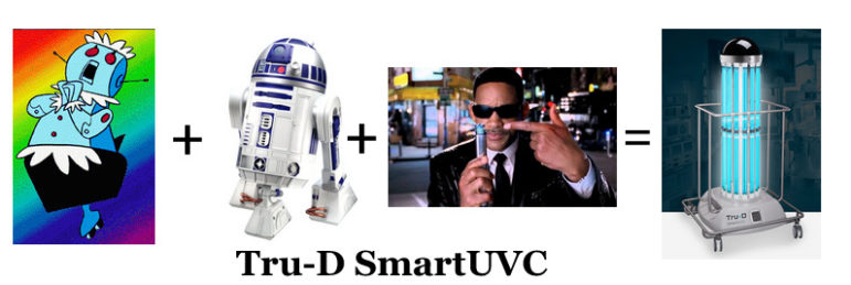 Tru-D Smart UVC robot - sort of a mashup ofRosie the Robot, R2D2 and a neuralyzer.