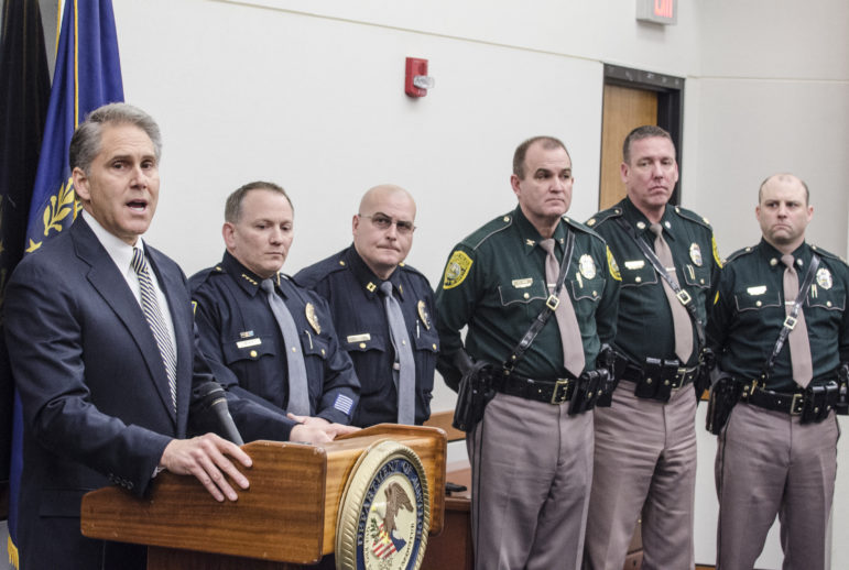 US Attorney John Kacavas during a press conference in Concord.