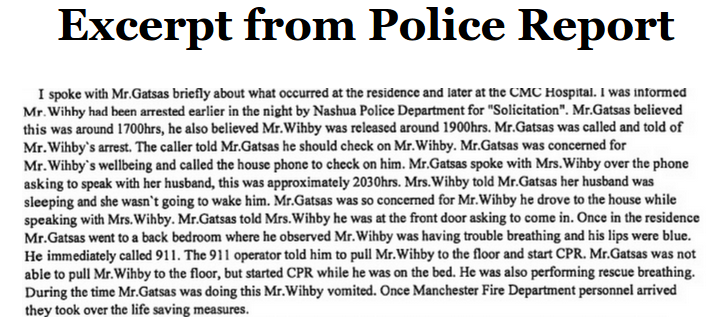 Excerpt from Manchester Police report of 911 call from David Wihby's home.