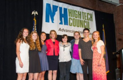 epresentatives from New Hampshire's female STEM student community pose with keynote speaker Carly Fiorina at the New Hampshire High Tech Council's Entrepreneur of the Year Award on Friday night
