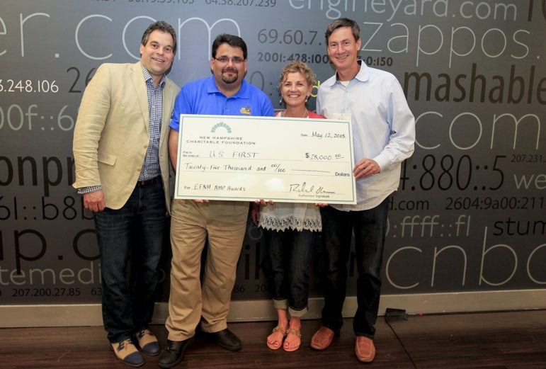 First of Manchester was chosen as winner of the Entrepreneurs Foundation of New Hampshire's AMP NH Award Competition. Pictured here, from left to right, TK Kuegler, EFNH member and co-founder and general partner of Wasabi Ventures; Dan Hughes, First volunteer; Michelle Pierson, EFNH member; and John Gargasz, EFNH member and partner at 10X Venture Partners.