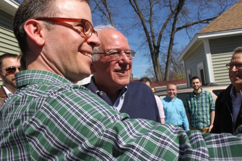 Will Stewart captures a selfie with Bernie Sanders at a Manchester house party on May 2.
