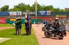 NH State Police Honor Guard and motorcycle police during the National Anthem.