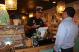 Chief Nick Willard insists Ben Demarzo put his money away and accept a free coffee.