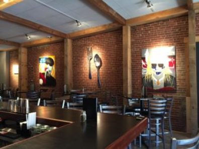Funktion's newly renovated interior, with art by local artist Teri Moores