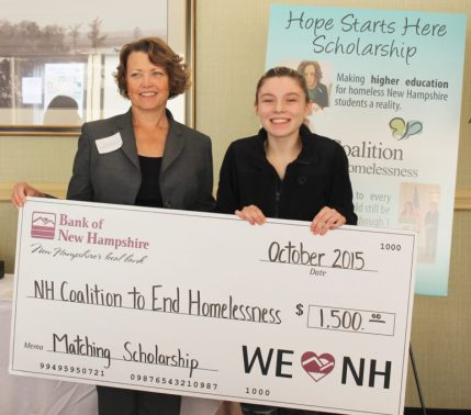 Karen Wilson, left, of Bank of New Hampshire presents their $1,500 match to this year's scholarship recipient, Briana Small, of Concord.