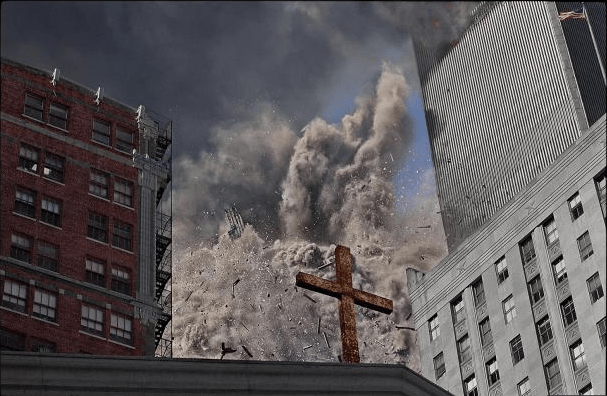 James Nachtwey, Collapse of the South Tower, Church of St. Peter on Church St. and Barclay, September 11, 2001 (printed 2014), digital chromogenic print, Currier Museum of Art, Manchester, New Hampshire. Museum Purchase: The Henry Melville Fuller Acquisition Fund, 2014.22.3. James Nachtwey.