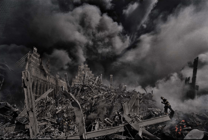 James Nachtwey, Firefighters at Ground Zero, 2001 (printed 2014), digital chromogenic print, Currier Museum of Art, Manchester, New Hampshire. Museum Purchase: The Henry Melville Fuller Acquisition Fund, 2014.22.4. James Nachtwey.
