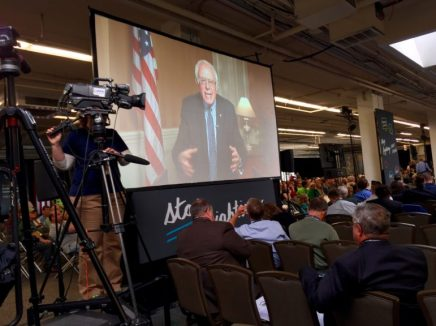 Sen. Bernie Sanders, via Satellite, at the No Labels event.