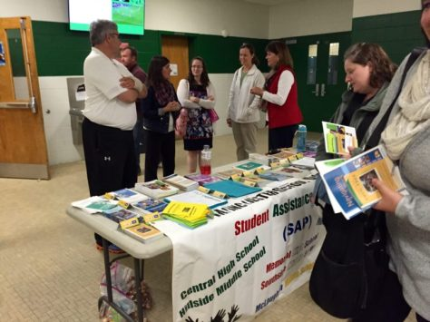Counselors from the district's Student Assistance Program had a table with brochures for parents in the lobby at Hillside Middle School.