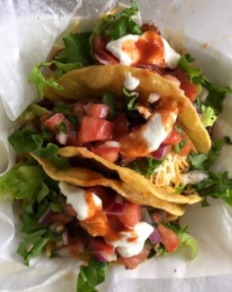 Taco trio at Bs Tacos Truck