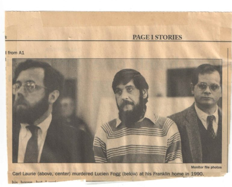 Convicted murderer Carl Laurie, center, is pictured with the lawyers who originally defended him, Albert W. Scherr, left, and James Moir in this clipping from the Concord Monitor in the 1990s. Laurie's conviction was overturned in 1995 because prosecutors allowed a police detective who had been disciplined for dishonesty provide key testimony against him. The state Supreme Court case State v. Laurie prompted prosecutors to keep 'Laurie' lists of police officers with potential credibility issues for possible disclosure to the defense .