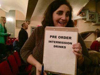 Janey Goldberg, delivering customer service, and tasty drinks.