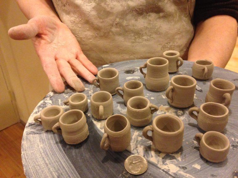 Lori Rollason, mini-mugs in progress.